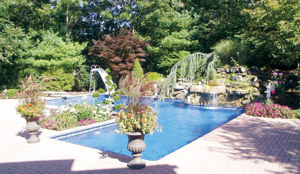Long Island backyard landscape